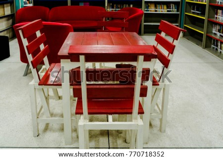 Red Chairs In Library Room,The Library Is Decorated With Colorful Books :  The Reading