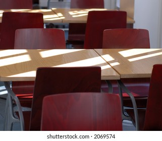 Red Chairs and Table