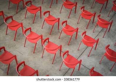 Red chairs in a theater