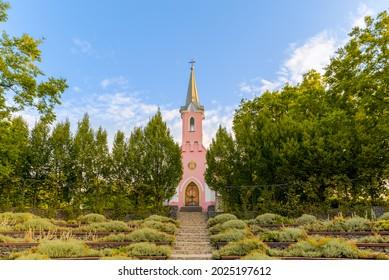 Red chapel in Balatonboglar Hungary. The chapel it has  on the Saint Erzsebet park. Barany Pal built this in 1857.
