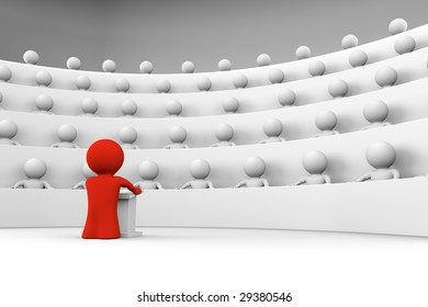 red character standing by a lectern facing an audience of white characters sitting in five levels of tiered seating; 3d rendering