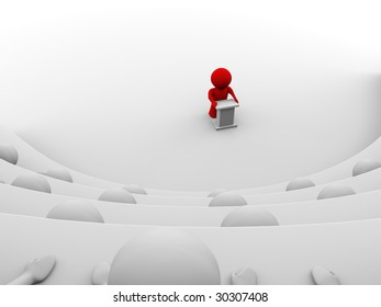 red character standing by a lectern facing an audience of white characters sitting in five levels of tiered seating; view from one of the seats; 3d rendering
