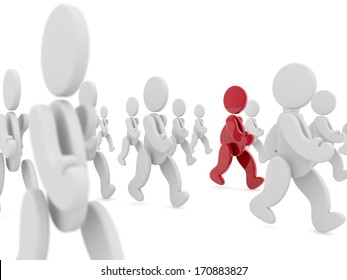 red character walking in a crowd of white characters