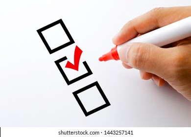 Red check mark in checklist.