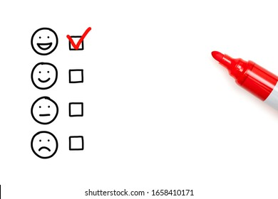 Red check mark on blank awesome survey checklist next to handdrawn happy face on white background.