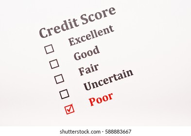 Red check mark on Poor in credit score form