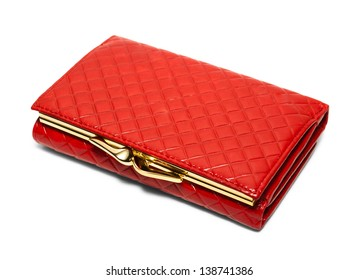 Red checked purse isolated on white background