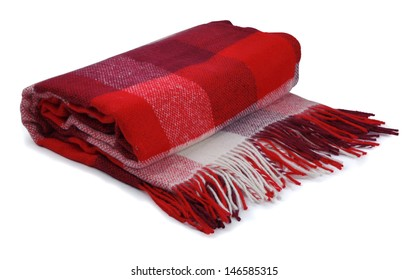 Red checkered blanket on a white background