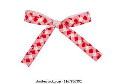 Red checkered bow, ribbon. Isolated on white background.