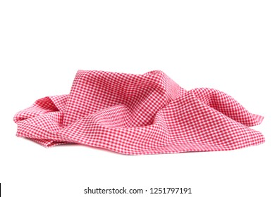 Red checkered crumpled cloth,cotton picnic towel isolated.
