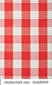 red checkered fabric closeup , tablecloth texture