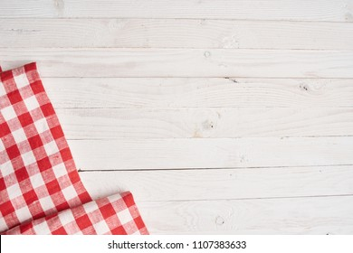 red checkered napkin on a light background