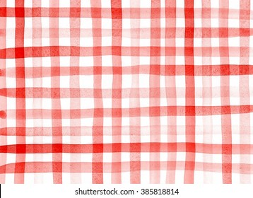 Red checkered pattern. Watercolor