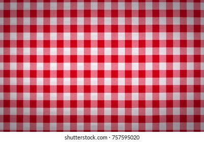 Red checkered tablecloth fabric background texture, close-up