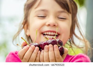 red cherry children's hands. selective focus.