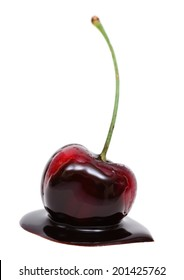 Red cherry in chocolate dipped isolated on white background