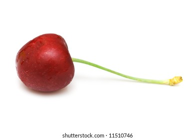 Red cherry isolated on the white background