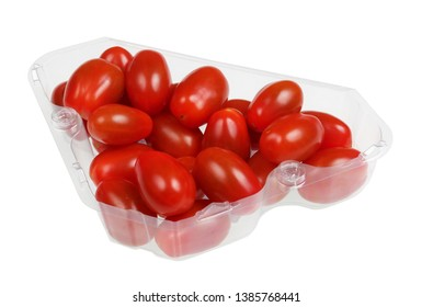 Red cherry  oval tomatoes in a clear plastic container.Isolated with patch  studio macro shot