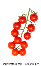 red cherry tomato, Lycopersicon esculentum var cerasiforme, isolated on white