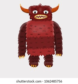 Red children's cute monster character. Original digital illustration.