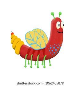 Red children's cute monster character. Original digital illustration.