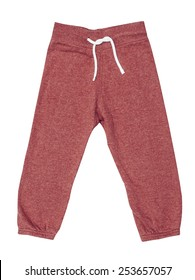 Red children's sports trousers with ties isolated on the white