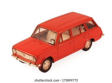 red children's toy car model isolated on white background