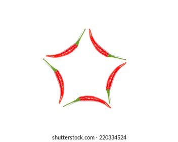 red chile pepper as geometric shapes isolated on white