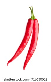 red chili or chilli cayenne pepper isolated on white background