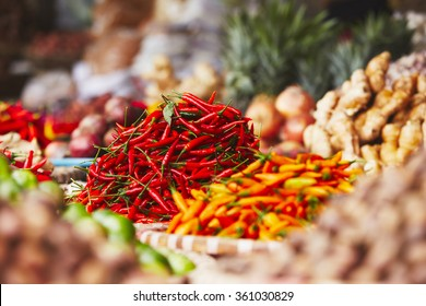 Red chili on the traditional vegetable market in Hanoi, Vietnam