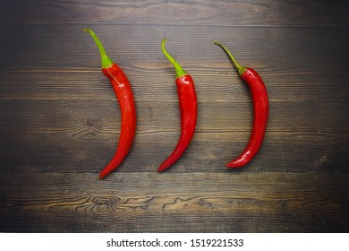 Red chili on a wooden table