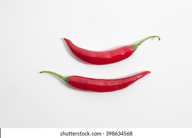 Red chili pepper on top view. P
