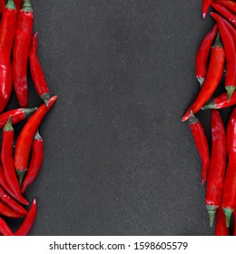 Red chili peppers. copy space