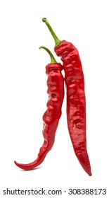 Red chili peppers on a white background