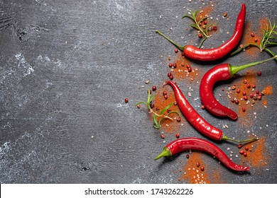 Red Chili peppers with peppercorn, paprika and rosemary twigs on black rustic background with copy space for your text. Assortment of spices on black background. Recipe book cover concept.