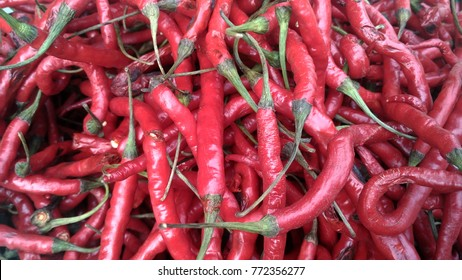 red chili at traditional market in Indonesia
