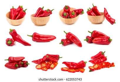 red chilli vegetable Isolated on white background.