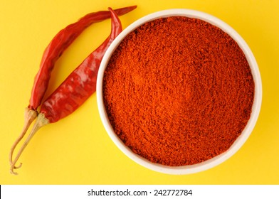 red chillies with red chilly powder