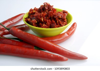 Red chillies chutney in a bowl