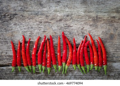 Red chillies on old wooden board