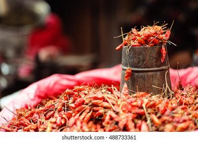 Red Chillis in Kathmandu, Nepal