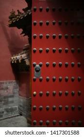 Red Chinese door in the Forbidden City