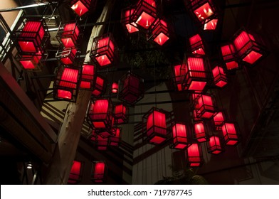 the red Chinese lantern on the ceiling as the decoration at nightclub