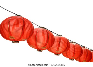 Red Chinese lanterns decoration for Chinese new year celebration isolated on white with clipping path