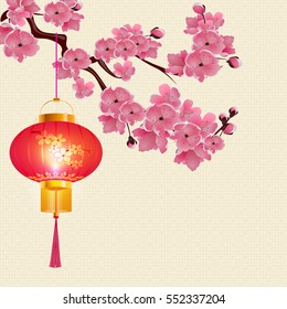 Red Chinese lanterns hanging on a branch of cherry blossoms with purple flowers. Round shape with patterns. Raster illustration