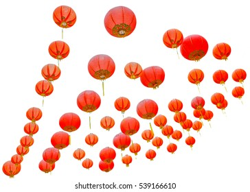 Red chinese lanterns Isolated on white background, with clipping path