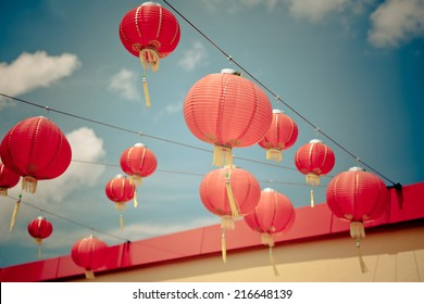 Red Chinese Paper Lanterns against a Blue Sky. Horizontal filtered shot
