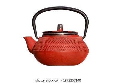 Red Chinese teapot isolated on white background. High quality photo