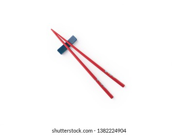 red chopstick on isolated white background