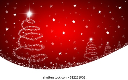 Red christmas background with abstract christmas trees and stars